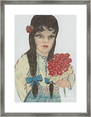 Blue Eyed Black Haired Girl Framed Print