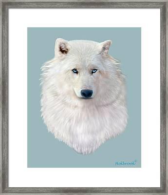 Blue-eyed Snow Wolf Framed Print