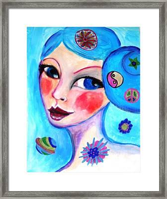 Blue Eyed Woman Framed Print