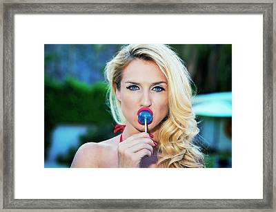 Red Lips Blue Eyes Blue Sucker Framed Print