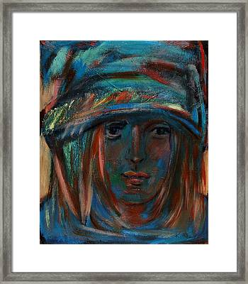 Blue Faced Girl Framed Print