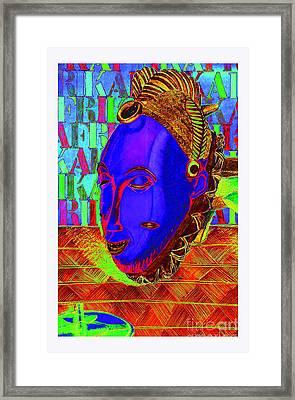 Blue Faced Mask Framed Print by Ronald Rosenberg
