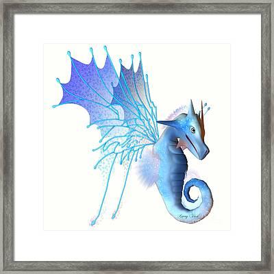 Blue Faerie Dragon Framed Print by Corey Ford