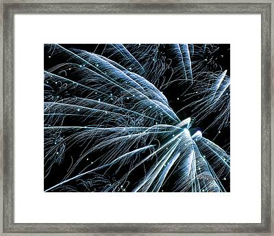 Framed Print featuring the photograph Blue Fairy Fireworks #0710_3 by Barbara Tristan