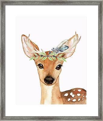 Blue Feather Woodland Boho Deer Framed Print