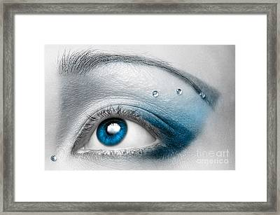 Blue Female Eye Macro With Artistic Make-up Framed Print