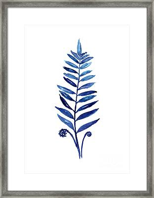 Blue Fern Watercolor Poster Framed Print