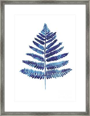 Blue Ferns Watercolor Art Print Painting Framed Print by Joanna Szmerdt