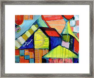 Framed Print featuring the painting Blue Fin's Fresh Seafood by Susan Stone