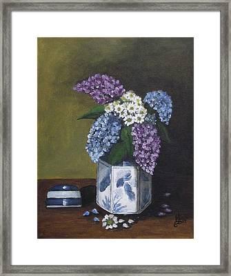 Blue Fish Vase Framed Print by Kim Selig