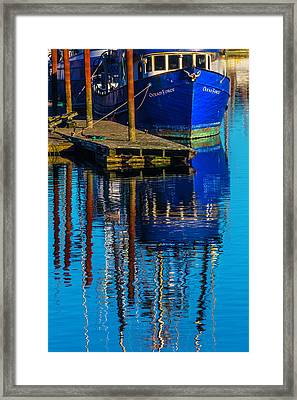 Blue Fishing Boat Reflection Framed Print by Garry Gay