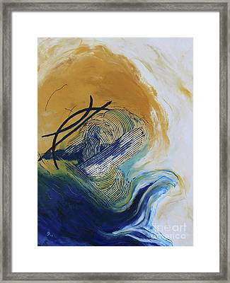 Blue Flame Vi Framed Print by Christiane Schulze Art And Photography