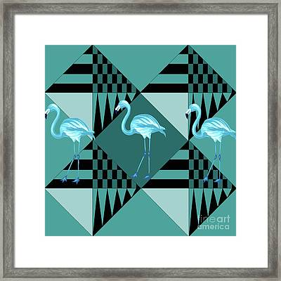 Blue Flamingo Framed Print