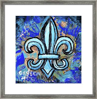 Framed Print featuring the mixed media Blue Fleur De Lis by Genevieve Esson