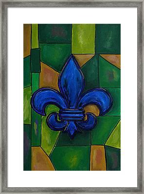 Blue Fleur De Lis Framed Print by Patti Schermerhorn