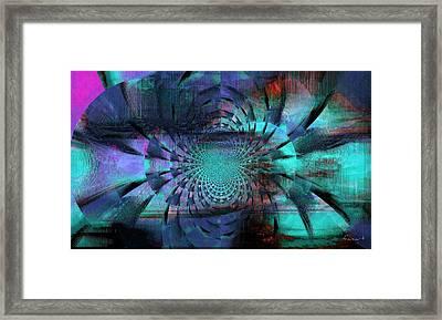 Framed Print featuring the mixed media Blue Fleur by Fania Simon