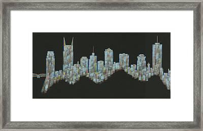 Blue Floating Nashville Skyline Framed Print by Helen Prater
