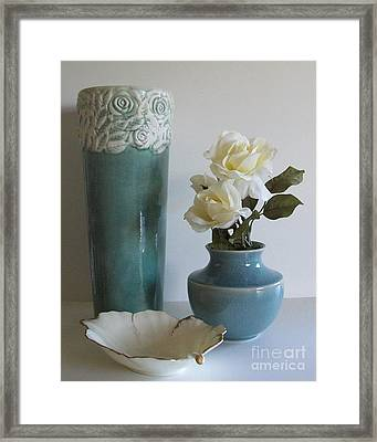 Blue Floral Decor Framed Print by Marsha Heiken