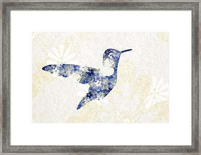 Blue Floral Hummingbird Art Framed Print