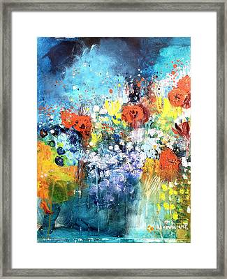Blue Floral Framed Print by Wendy Mcwilliams