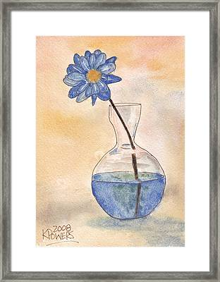 Blue Flower And Glass Vase Sketch Framed Print by Ken Powers