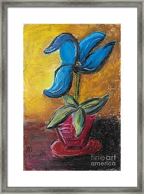 Blue Flower Framed Print by Marlena Colino Leach