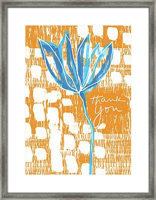 Blue Flower Thank You- Art By Linda Woods Framed Print by Linda Woods