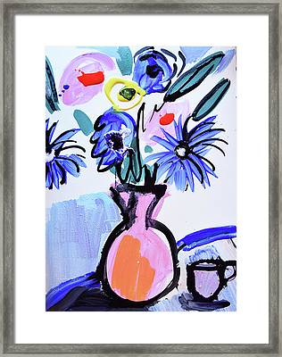 Blue Flowers And Coffee Cup Framed Print by Amara Dacer