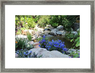 Blue Flowers And Stream Framed Print by Corey Ford