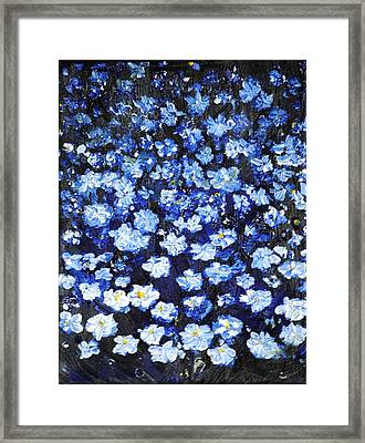Framed Print featuring the painting Blue Flowers by Evelina Popilian