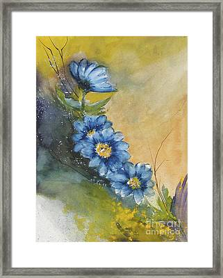 Blue Flowers Framed Print by Sibby S
