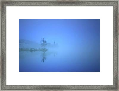Blue Fog At Skaha Lake Framed Print by Tara Turner