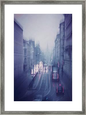 Blue Fog Over Rainy City Framed Print