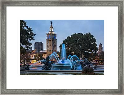 Blue Fountain Framed Print