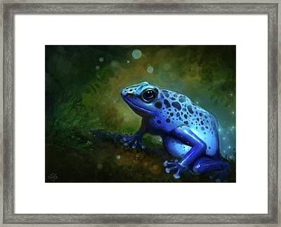Blue Frog Framed Print by Caroline Jamhour