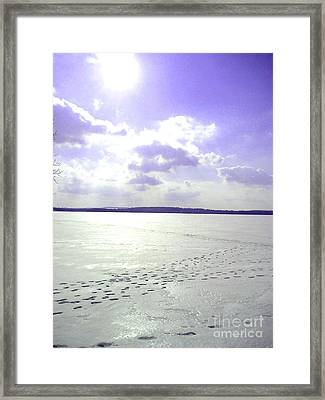Blue Frozen Lake Framed Print by Silvie Kendall