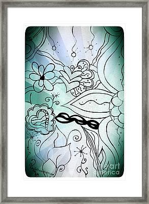 Blue Funky Flower Doodles Framed Print