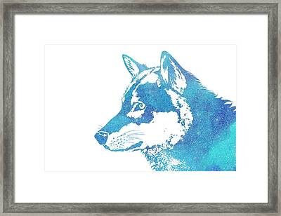 Blue Galaxy Wolf Framed Print
