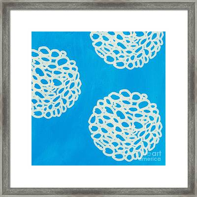 Blue Garden Bloom Framed Print by Linda Woods