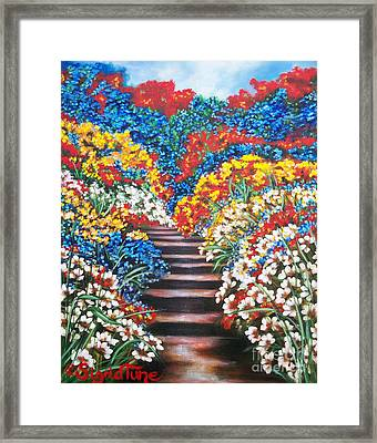 Chloe The   Flying Lamb Productions        Blue Garden Cascade Framed Print