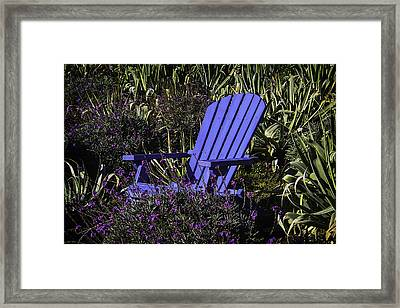 Blue Garden Chair Framed Print by Garry Gay