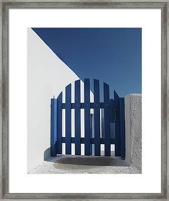 Blue Gate Oia Santorini Framed Print