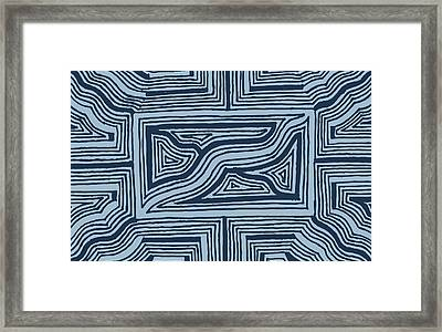 Framed Print featuring the drawing Blue Geo by Jill Lenzmeier