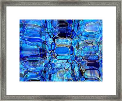 Framed Print featuring the glass art Blue Glass  by Fania Simon