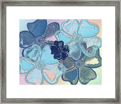 Blue Glass Flowers Framed Print by Jennifer Allen