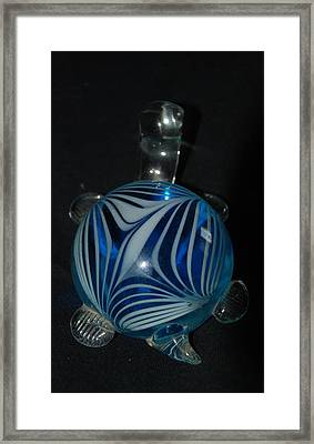 Blue Glass Turtle Framed Print by Rob Hans