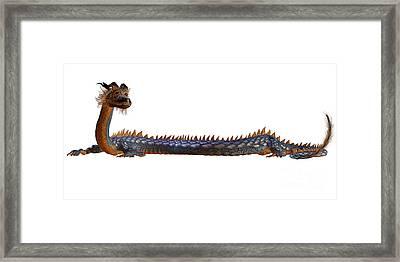 Blue Gold Dragon Framed Print by Corey Ford