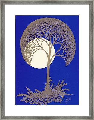 Blue Gold Moon Framed Print