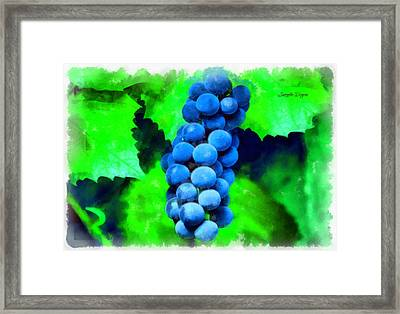 Blue Grapes  - Aquarell Style -  - Da Framed Print by Leonardo Digenio