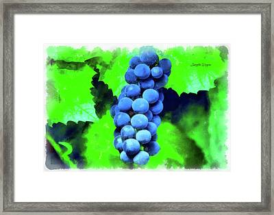 Blue Grapes - Aquarell Over Paper Framed Print by Leonardo Digenio